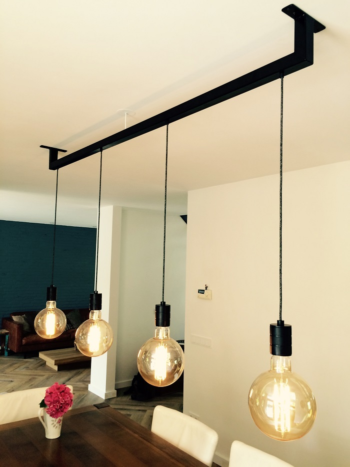 Hanglamp Eettafel aan staal
